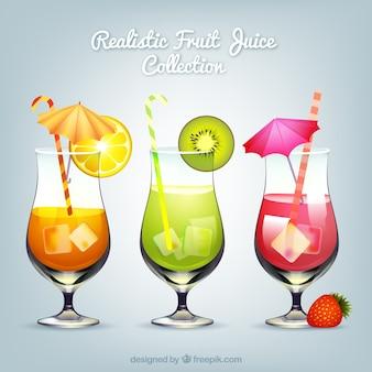 Três, fruta, sucos, realístico, desenho