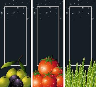 Três modelos de fundo com legumes frescos