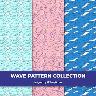 Três, onda, padrões, desenhado mão, estilo