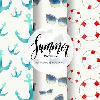 Três, verão, padrões, elementos, aquarela, estilo