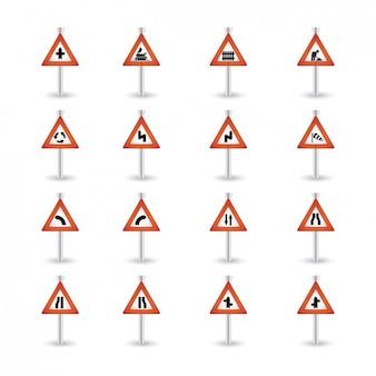 Triangular coleção de advertência do sinal de estrada
