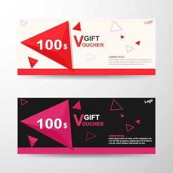 Triângulo rosa vermelho modelo de voucher de presente com padrão