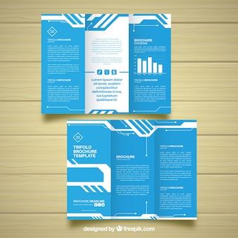 Tríptico empresarial azul com gráficos