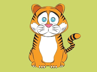 Triste tigre animal cartoon engraçado