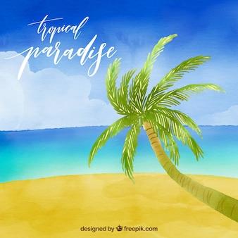 Tropical, aguarela, praia, fundo