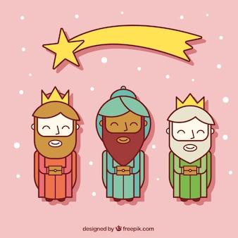 Três homens sábios com Estrela de tiro planas Icons