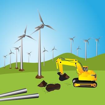 Turbina de vento, lindo pôr do sol acima dos moinhos de vento no campo