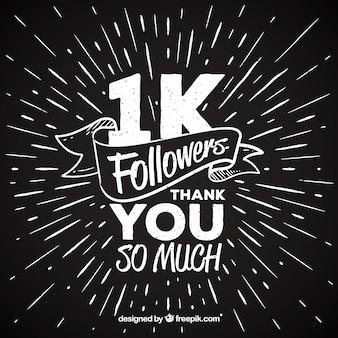 Um milhão de seguidores agradecem o fundo do vintage