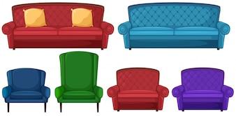 Uma coleção de cadeiras diferentes