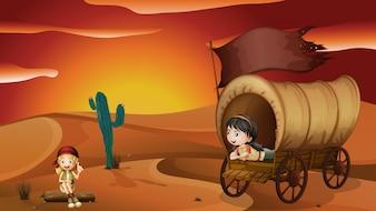 Uma menina deitada dentro da carruagem e uma menina sentada em uma madeira