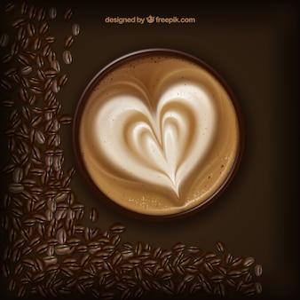 Uma xícara de café com um coração