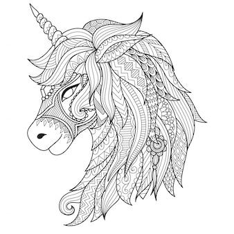 Unicornio decorativo desenhado à mão