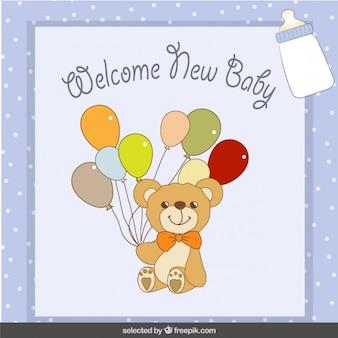 Urso com balões bebê cartão chuveiro