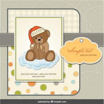Urso de peluche em nuvens bebê cartão chuveiro