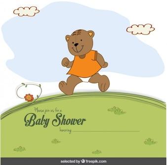 Urso feliz Cartão do chuveiro de bebê