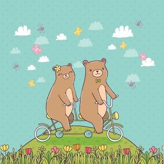 Ursos que montam uma bicicleta
