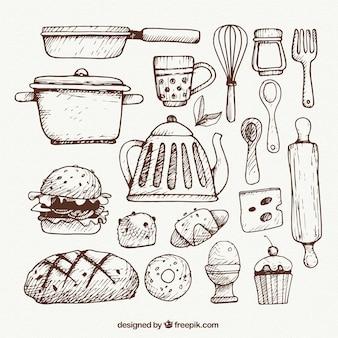 Utensílios de cozinha esboçado