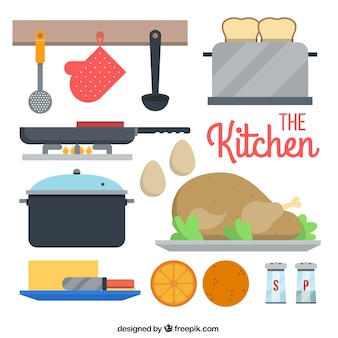 Utensílios de cozinha plana definido