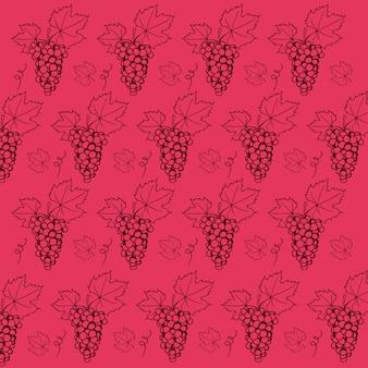 Uvas de vinho tinto vetor padrão padrão