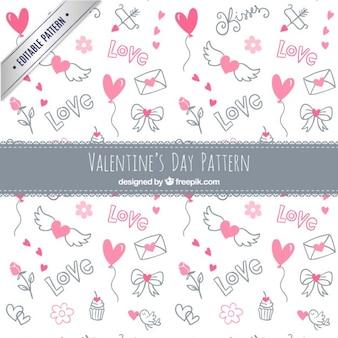 Valentine desenhos dia elementos padrão