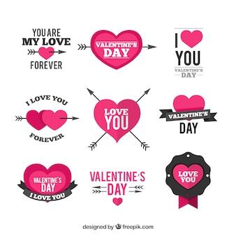 Valentine elementos de decoração dia