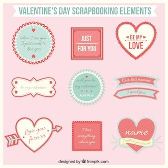 Valentine elementos dia scrapbooking embalar