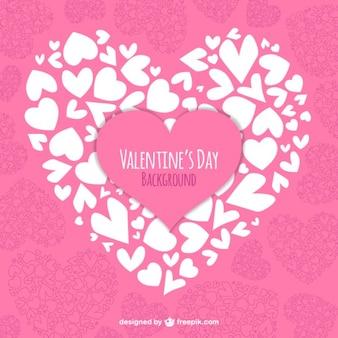 Valentine fundo do coração feito de corações brancos