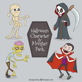 Vampiro feliz e outros personagens do dia das bruxas