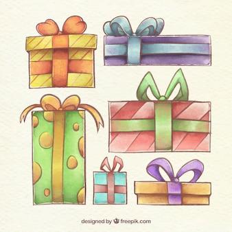 Várias caixas de presente de aquarela para natal