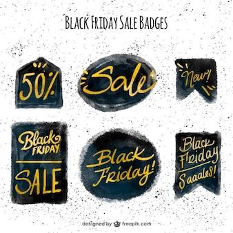 Várias etiquetas da venda para sexta-feira preta no estilo da aguarela