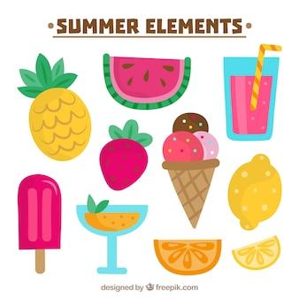 Variedade colorida de elementos de verão desenhados à mão