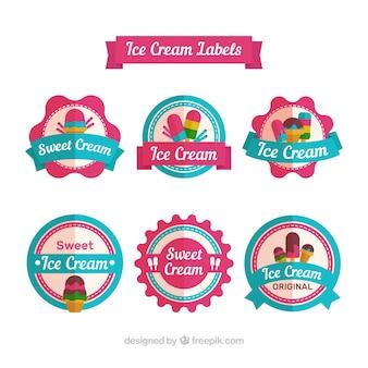 Variedade de adesivos coloridos com sorvetes em design plano