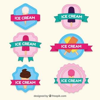 Variedade de adesivos coloridos do gelado