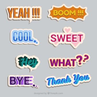 Variedade de adesivos de palavras vintage