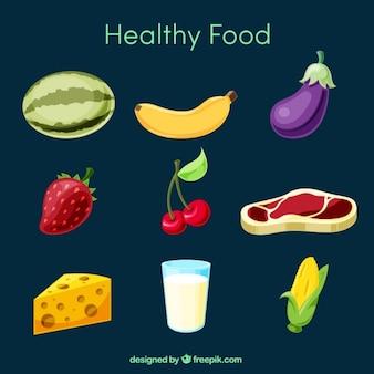 Variedade de alimentos saudáveis no design plano