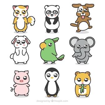Variedade de animais adoráveis com estilo desenhado a mão