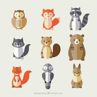 Variedade de animais bonitos em estilo plano