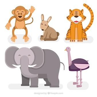 Variedade de animais que sorriem no design plano