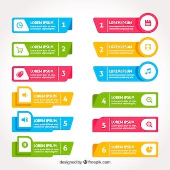 Variedade de banners infográficos coloridos