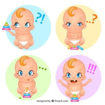 Variedade de bebê bonito com rostos expressivos