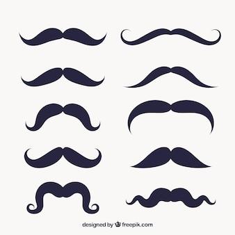 Variedade de bigodes em design plano