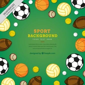 Variedade de bolas de fundo desportivo
