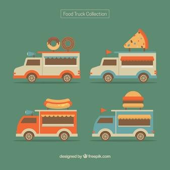 Variedade de caminhões de alimentos com estilo retro
