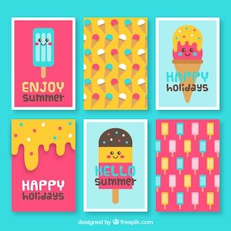 Variedade de cartões com sorvetes coloridos