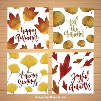 Variedade de cartões de aquarela com folhas de outono