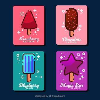 Variedade de cartões de sorvete em design plano