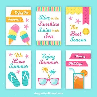 Variedade de cartões de verão decorativos