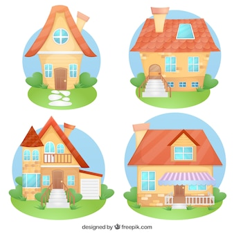 Variedade de casas desenhos animados
