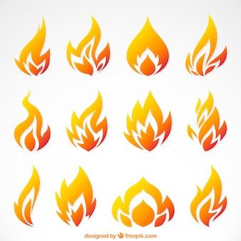 Variedade de chamas planas em tons de laranja