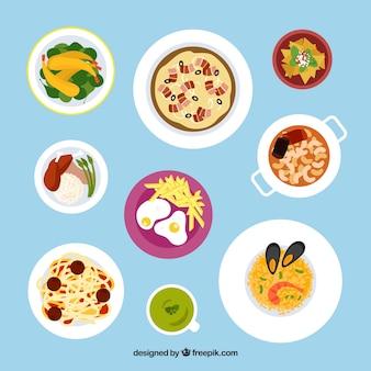 Variedade de comida deliciosa